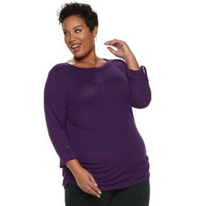 NEW Croft & Barrow Purple Ruched Top Blouse